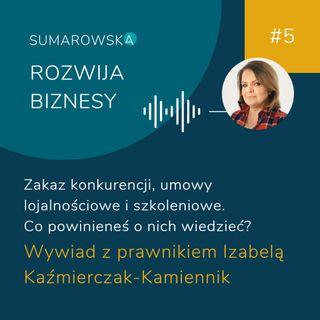 #5- Zakaz konkurencji, umowy lojalnościowe, umowy szkoleniowe. Wywiad z Izabelą Kaźmierczak-Kamiennik