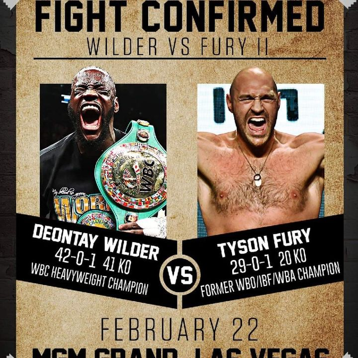 Deontay Wilder Vs Tyson Fury 2 For The WBC World Heavyweight Title Confirmed