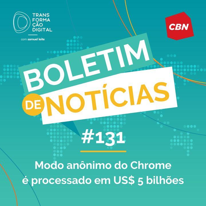 Transformação Digital CBN - Boletim de Notícias #131 - Modo anônimo do Chrome é processado em US$ 5 bilhões