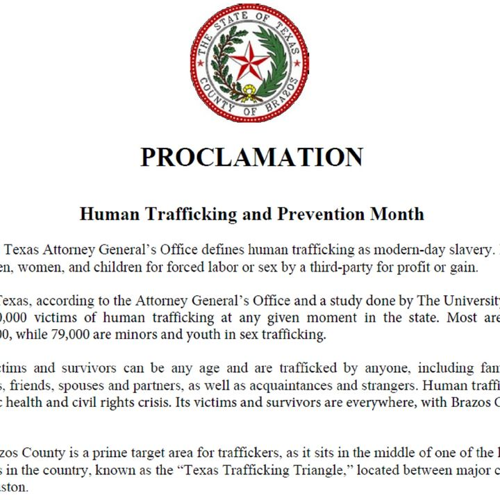 Human trafficking awareness and prevention month proclamation is presented by Brazos County commissioners