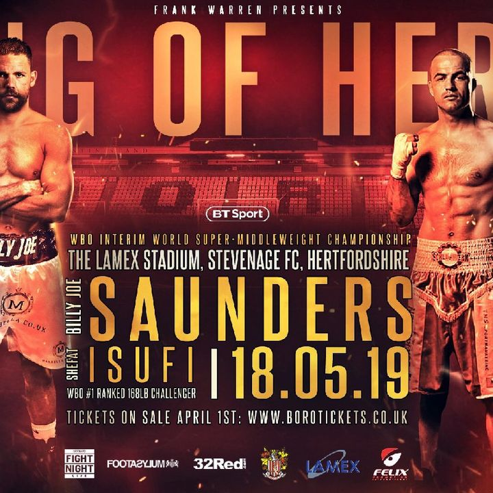 Preview Of The Billy Joe Saunders-Shefat Isufi WBO Super middle Weight Titlefight On BT Sport And ESPN+ In America!!