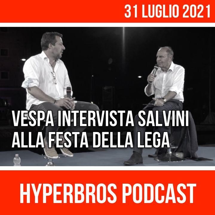 Vespa intervista Salvini alla Festa della Lega