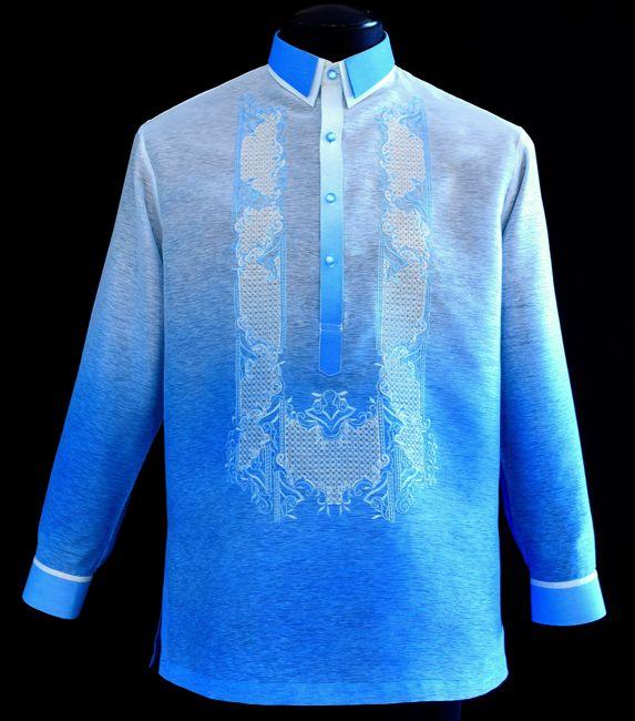 Blue, Brown, Burgundy Colored Barong Tagalog