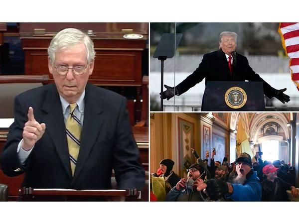 Sen R- leader Mitch McConnell Trump practically, morally responsible for riots