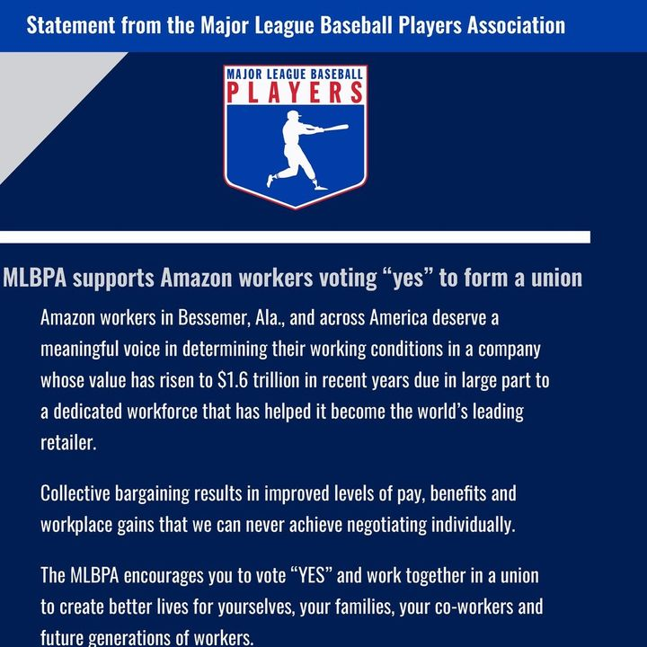 MLBPA Throws Weight Behind Amazon Union Drive, & Player Testimony Undercuts NCAA Messaging