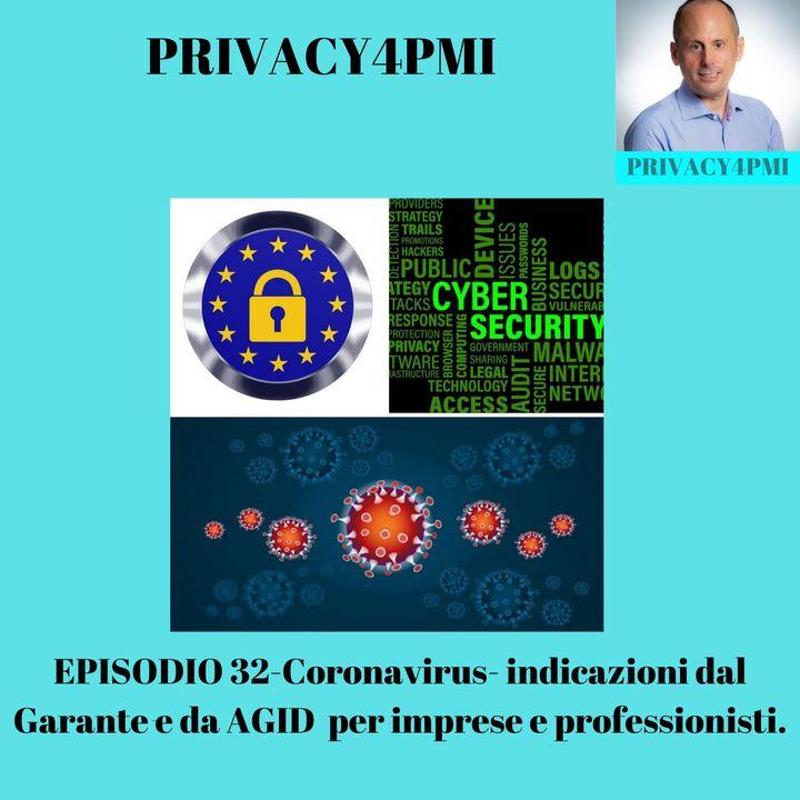 EPISODIO 32-Coronavirus- indicazioni dal Garante e da AGID  per imprese e professionisti