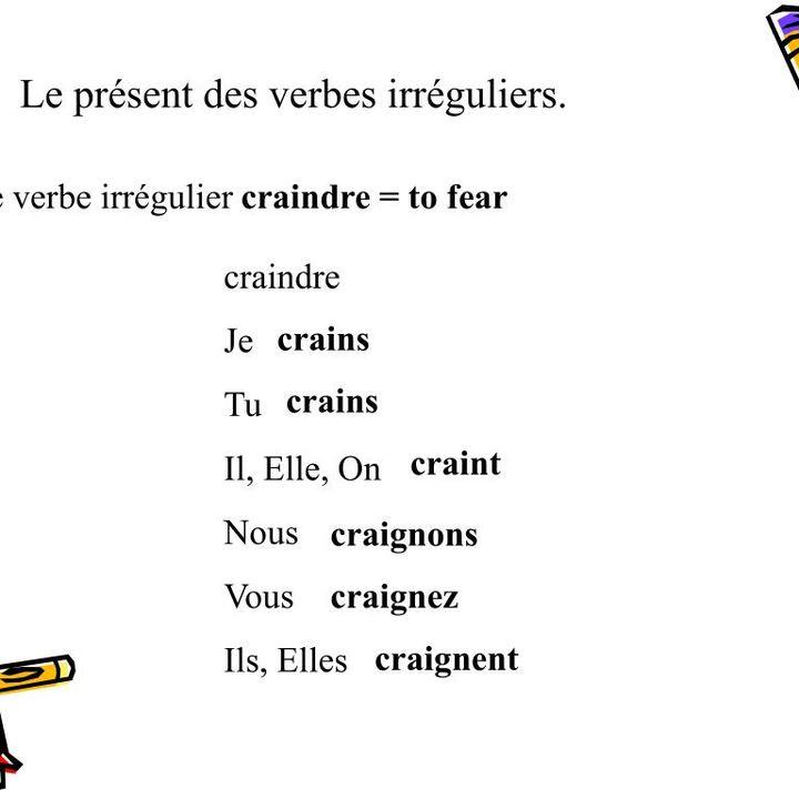 Le Présent indicatif des verbes irregulières en Re (2)