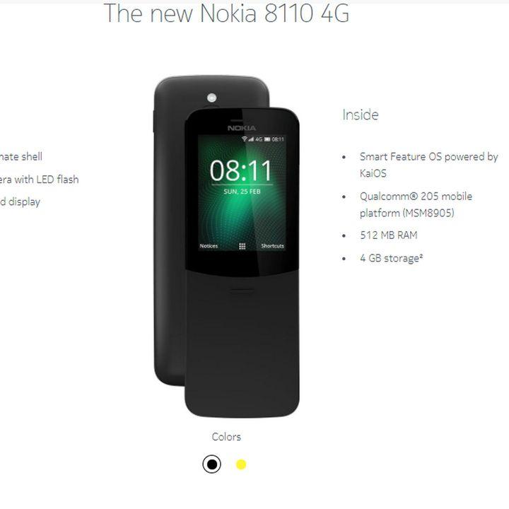 830 Nokia 8110 hotspot 4g in un telefonino che non si scarica