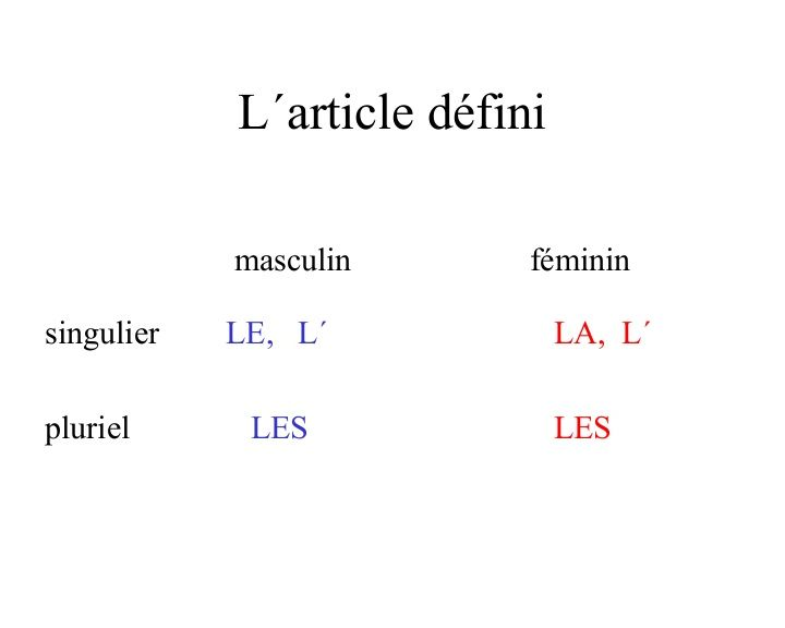 L' article défini