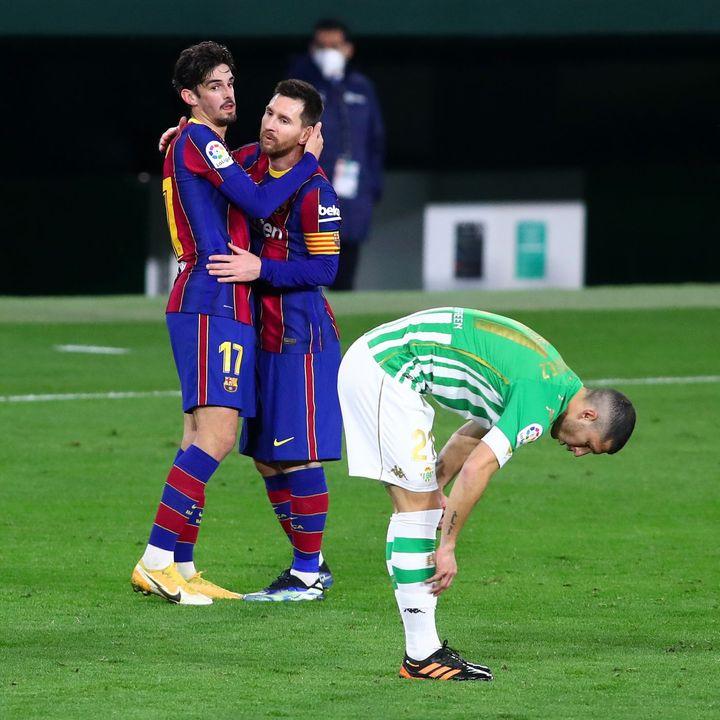 como la victoria en el barcelona contra el real betis por la liga