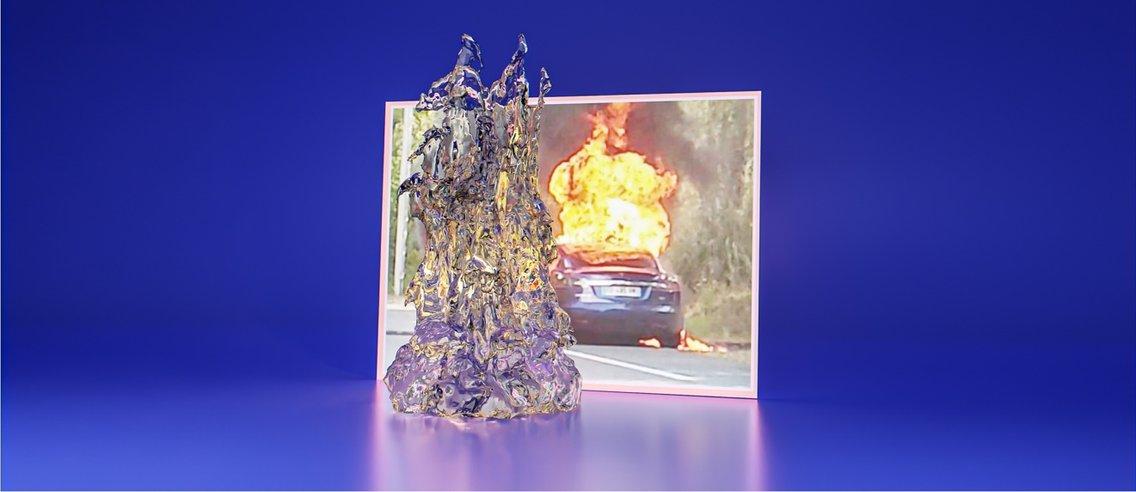 Bilde av en brennende Tesla - Cover Image